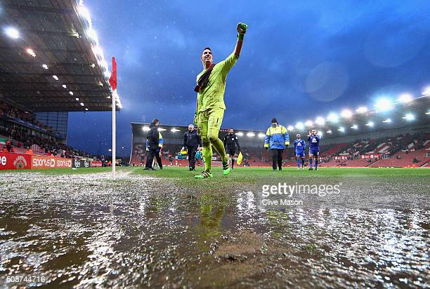 Joel Robles of Everton applauds away supporters while walking off the waterlogged pitch after the Barclays Premier League match between Stoke City...