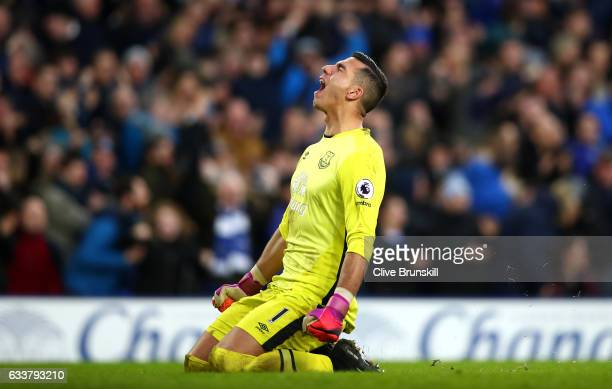 Joel Robles of Everton celbrates his side's fourth goal during the Premier League match between Everton and AFC Bournemouth at Goodison Park on...