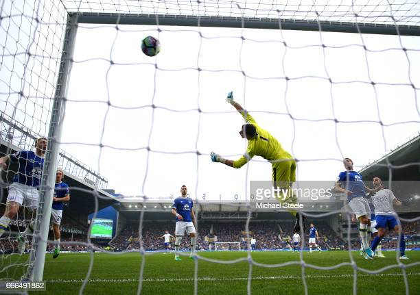 Joel Robles of Everton fails to stop a free kick by Marc Albrighton of Leicester City for the team's second goal during the Premier League match...