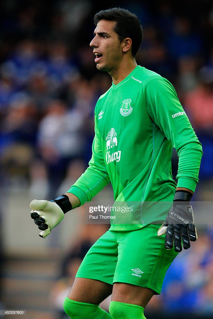Joel Robles of Everton in action during the Pre Season Friendly between Tranmere Rovers and Everton at Prenton Park on July 22, 2014 in Birkenhead, England.