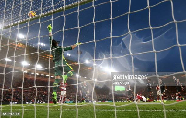 Joel Robles of Everton saves a shot at goal from Rudy Gestede of Middlesbrough during the Premier League match between Middlesbrough and Everton at...