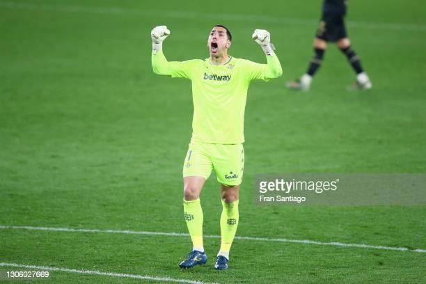 Joel Robles of Real Betis celebrates victory after the La Liga Santander match between Real Betis and Deportivo Alavés at Estadio Benito Villamarin...