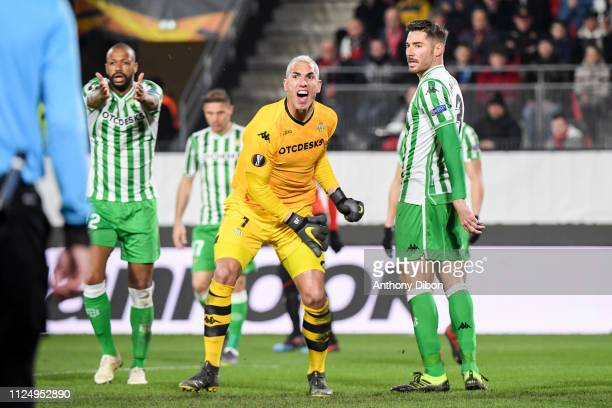 Joel Robles of Real Betis reacts during the UEFA Europa League Round of 32 First Leg match between Rennes and Real Betis at Roazhon Park on February...