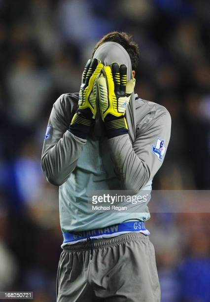 Joel Robles of Wigan Athletic reacts after defeat during the Barclays Premier League match between Wigan Athletic and Swansea City at DW Stadium on...
