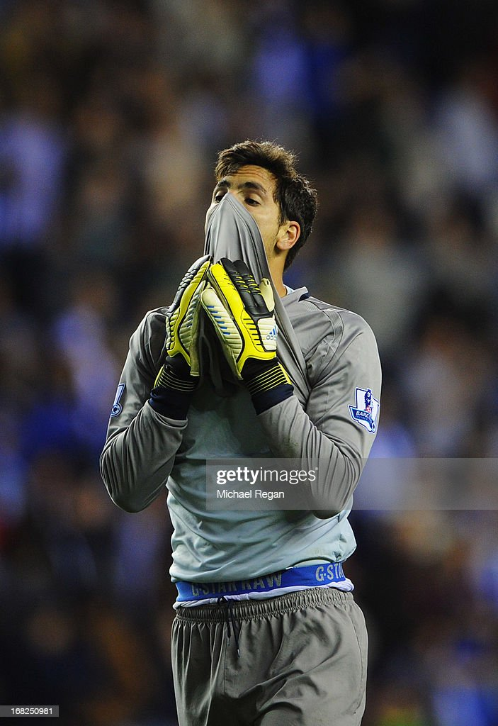 Joel Robles of Wigan Athletic reacts after defeat during the Barclays Premier League match between Wigan Athletic and Swansea City at DW Stadium on May 7, 2013 in Wigan, England.