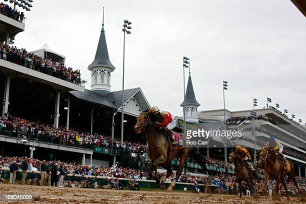 Joel Rosario atop Orb on his way to winning the 139th running of the Kentucky Derby at Churchill Downs on May 4 2013 in Louisville Kentucky