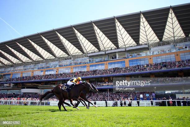 Joel Rosario riding Shang Shang Shang crosses the finish line to win The Norfolk Stakes on day 3 of Royal Ascot at Ascot Racecourse on June 21 2018...