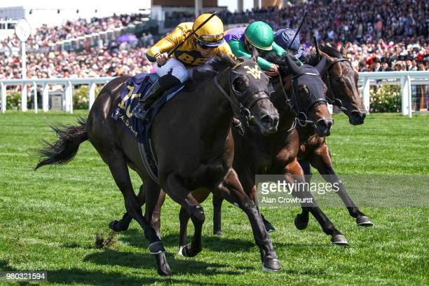 Silvestre De Sousa riding Ostilio win The Brittania Stakes on day 3 of Royal Ascot at Ascot Racecourse on June 21 2018 in Ascot England