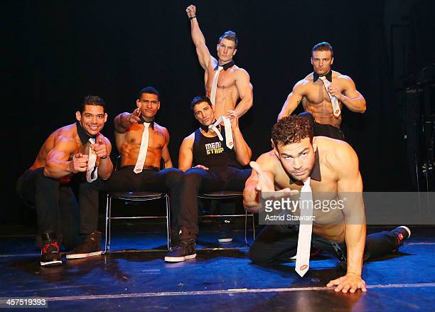 Joel Sajiun, Nate Estimada, Garo Bechirian, Kyle Efthemes, Chris Boudreaux and Keith Webb of Men Of The Strip pose for photos at The Gramercy Theater...