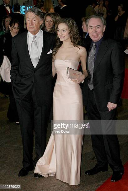 Joel Schumacher Emmy Rossum and Lord Webber during 'The Phantom of the Opera' London Premiere Arrivals at Leicester Square in London England Great...