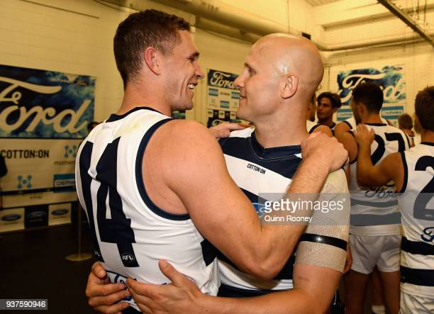 Joel Selwood and Gary Ablett of the Cats celebrate winning the round one AFL match between the Melbourne Demons and the Geelong Cats at Melbourne...