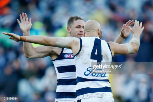 Joel Selwood and Gary Ablett of the Cats celebrates a goal during the round 22 AFL match between the Geelong Cats and the Fremantle Dockers at GMHBA...