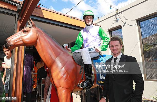 Joel Selwood as Michelle Payne on Prince of Penzance and Patrick Dangerfield as Osher Gunsberg from the Bachelor during the Geelong Cats AFL...