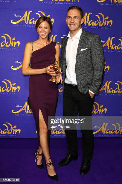 Joel Selwood from the Geelong Football club and Brit Davis arrives ahead of Aladdin opening night at Her Majesty's Theatre on April 20 2017 in...