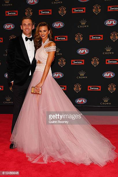 Joel Selwood of Geelong and partner Brit Davis arrive ahead of the 2016 Brownlow Medal at Crown Entertainment Complex on September 26 2016 in...