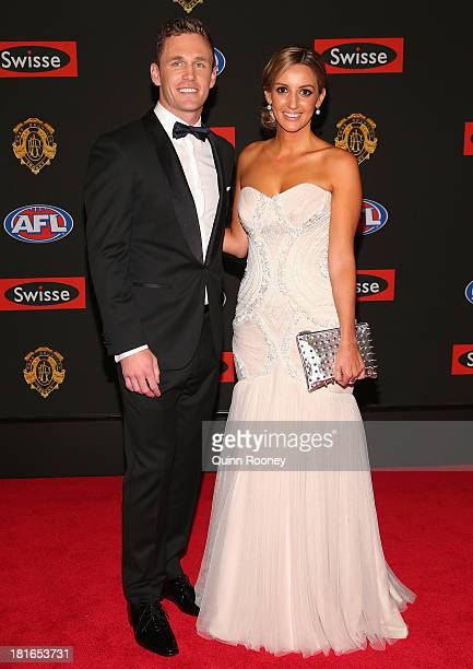 Joel Selwood of the Cats and his partner Kathryn Cotsopoulos arrive ahead of the 2013 Brownlow Medal at Crown Palladium on September 23, 2013 in...