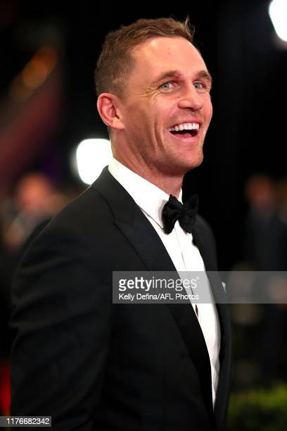 Joel Selwood of the Cats arrives ahead of the 2019 Brownlow Medal at Crown Palladium on September 23 2019 in Melbourne Australia