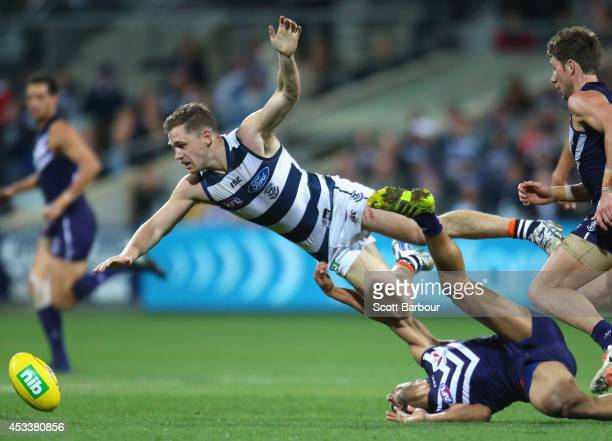 Joel Selwood of the Cats flies through the air as he competes for the ball during the round 20 AFL match between the Geelong Cats and the Fremantle...