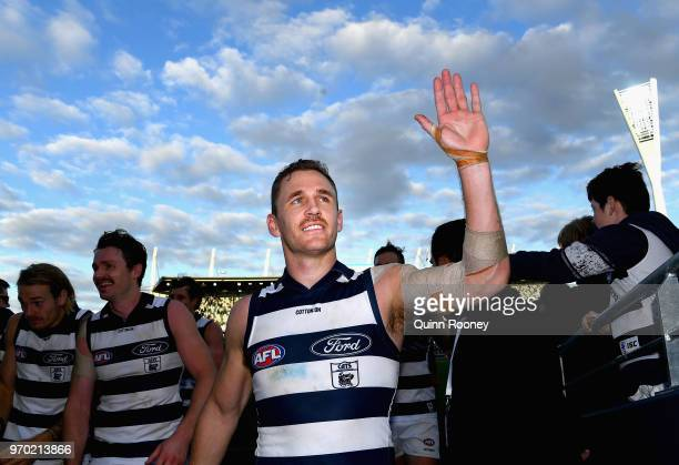 Joel Selwood of the Cats high fives fans after winning the round 12 AFL match between the Geelong Cats and the North Melbourne Kangaroos at GMHBA...