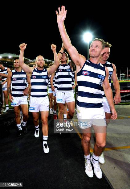Joel Selwood of the Cats leads his team off and thanks the Geelong fans during the round three AFL match between the Adelaide Crows and the Geelong...