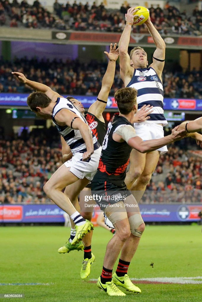Joel Selwood of the Cats marks the ball during the round eight AFL match between the Essendon Bombers and the Geelong Cats at Melbourne Cricket Ground on May 13, 2017 in Melbourne, Australia.