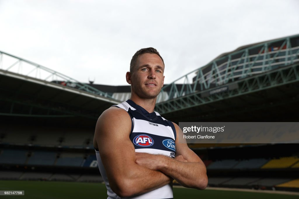 Joel Selwood of the Cats poses during the 2018 AFL Captain's Day at Etihad Stadium on March 15, 2018 in Melbourne, Australia.