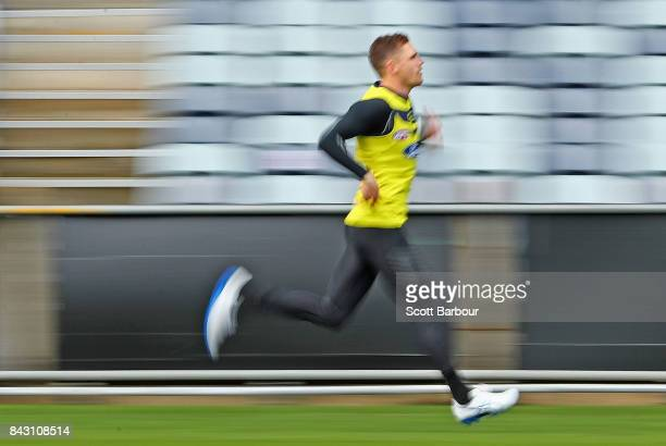 Joel Selwood of the Cats runs during a Geelong Cats AFL training session at Simonds Stadium on September 6 2017 in Geelong Australia