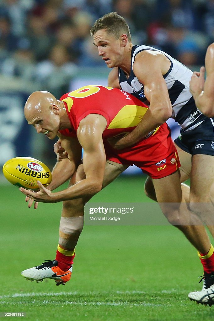 Joel Selwood of the Cats tackles Gary Ablett of the Suns during the round six AFL match between the Geelong Cats and the Gold Coast Suns at Simonds Stadium on April 30, 2016 in Geelong, Australia.