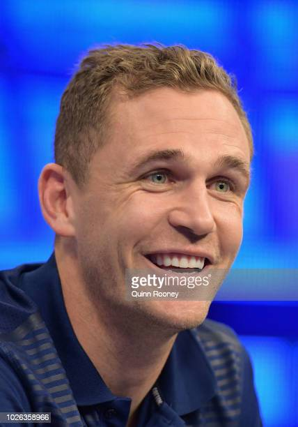 Joel Selwood of the Cats talks to the media during a Geelong Cats AFL Finals media opportunity at Fox Footy Studios on September 3 2018 in Melbourne...
