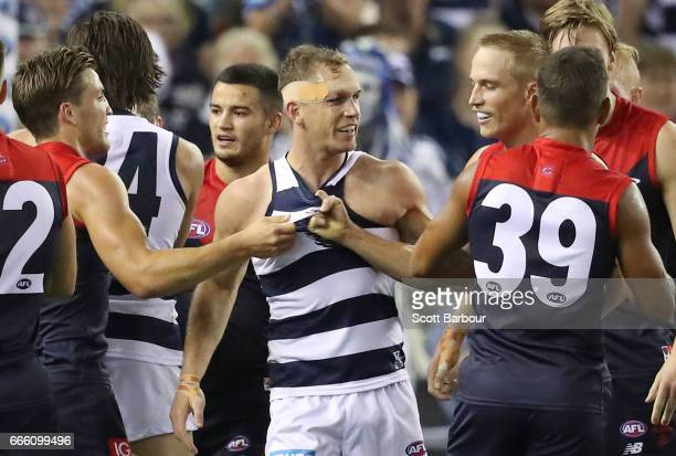 Joel Selwood of the Cats wrestles with Bernie Vince of the Demons and Jack Viney of the Demons during the round three AFL match between the Geelong...