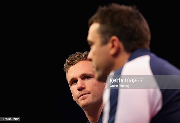 Joel Selwood the captain of the Cats and Chris Scott the coach of the Cats speak to the media during a Geelong Cats AFL Finals Series Launch Media...