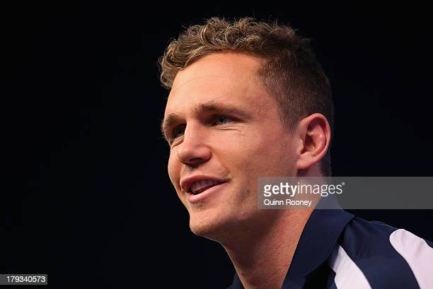 Joel Selwood the captain of the Cats speaks to the media during a Geelong Cats AFL Finals Series Launch Media Session at Fox Sports on September 2...