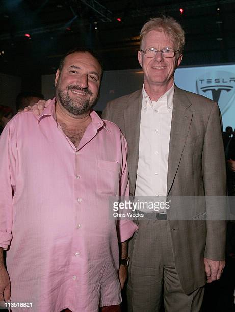 Joel Silver and Ed Begley Jr during Official Unveiling of the Tesla Roadster at Barker Hanger in Santa Monica California United States
