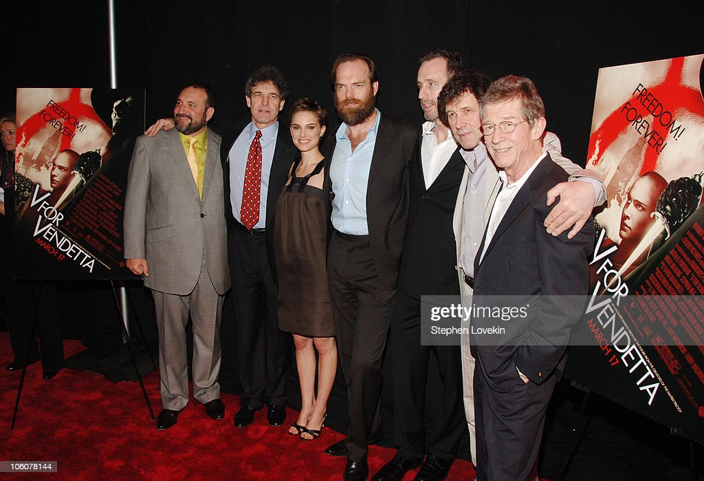 Joel Silver, producer, Alan Horn, President and COO of Warner Bros., Natalie Portman, Hugo Weaving, James McTeigue, director, Stephen Rea and John Hurt