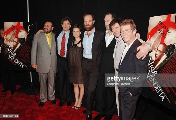 Joel Silver, producer, Alan Horn, President and COO of Warner Bros., Natalie Portman, Hugo Weaving, James McTeigue, director, Stephen Rea and John...