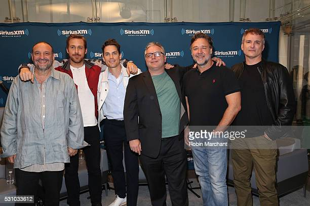 Joel Silver Ryan Gosling Matt Bomer Clark Collins Russell Crowe and Shane Black attend the SiriusXM's 'Town Hall' With The Cast Of 'Nice Guys' on May...