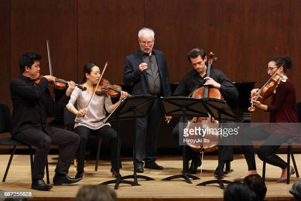 Joel Smirnoff Master Class at the Juilliard School's Paul Hall on Monday afternoon March 27 2017 This image Verona String Quartet From left Jonathan...