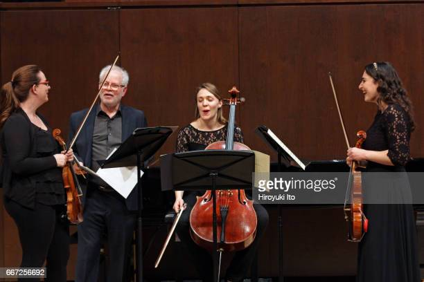 Joel Smirnoff Master Class at the Juilliard School's Paul Hall on Monday afternoon March 27 2017 This image From left Jessica Fellows Joel Smirnoff...