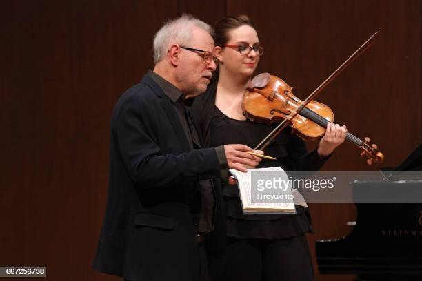 Joel Smirnoff Master Class at the Juilliard School's Paul Hall on Monday afternoon March 27 2017 This image From left Joel Smirnoff and Jessica...