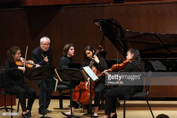 Joel Smirnoff Master Class at the Juilliard School's Paul Hall on Monday afternoon March 27 2017 This image Kahlo Quartet From left Rannveig Marta...