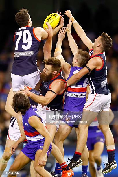 Joel Smith of Casey attempts to mark the ball during the VFL Grand Final match between the Casey Scorpions and the Footscray Bulldogs at Etihad...