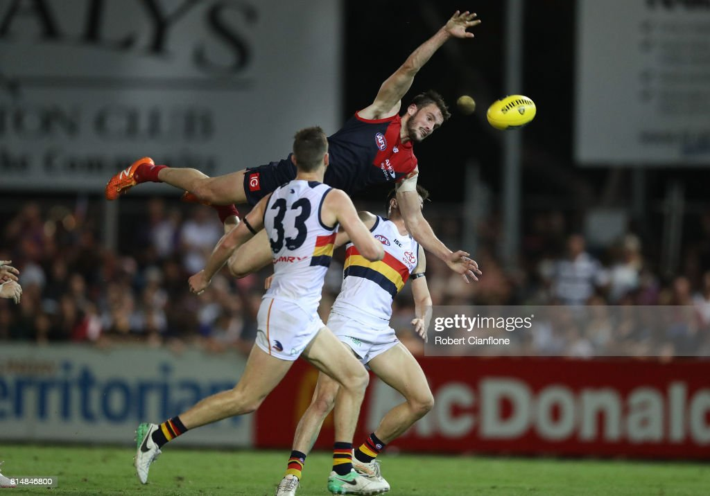 Joel Smith of the Demons leaps for the ball during the round 17 AFL match between the Melbourne Demons and the Adelaide Crows at TIO Stadium on July 15, 2017 in Darwin, Australia.