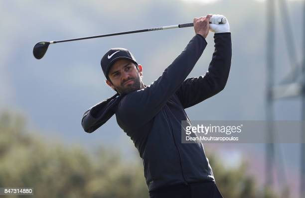 Joel Stalter of France hits his tee shot on the 11th hole during day two of the KLM Open at The Dutch on September 15 2017 in Spijk Netherlands