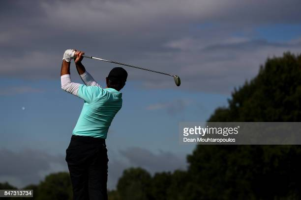 Joel Stalter of France hits his tee shot on the 12th hole during day two of the KLM Open at The Dutch on September 15 2017 in Spijk Netherlands
