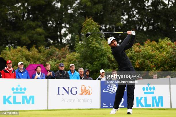 Joel Stalter of France hits his tee shot on the 2nd hole during day 3 of the European Tour KLM Open held at The Dutch on September 16 2017 in Spijk...