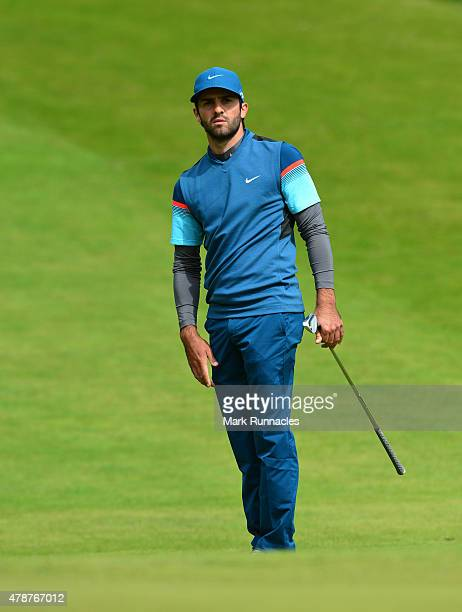 Joel Stalter of France in action during the third round of the 2015 SSE Scottish Hydro Challenge at the MacDonald Spey Valley Championship Golf...