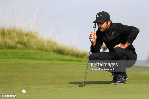 Joel Stalter of France lines up a putt on the 13th hole during Day Four of the KLM Open at The Dutch on September 17 2017 in Spijk Netherlands