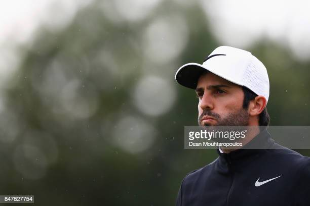 Joel Stalter of France looks on after he hits his t33 shot on the 4th hole during day 3 of the European Tour KLM Open held at The Dutch on September...