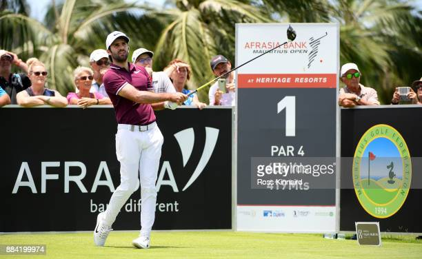 Joel Stalter of France on the 1st tee during the third round of the AfrAsia Bank Mauritius Open at Heritage Golf Club on December 2 2017 in Bel Ombre...