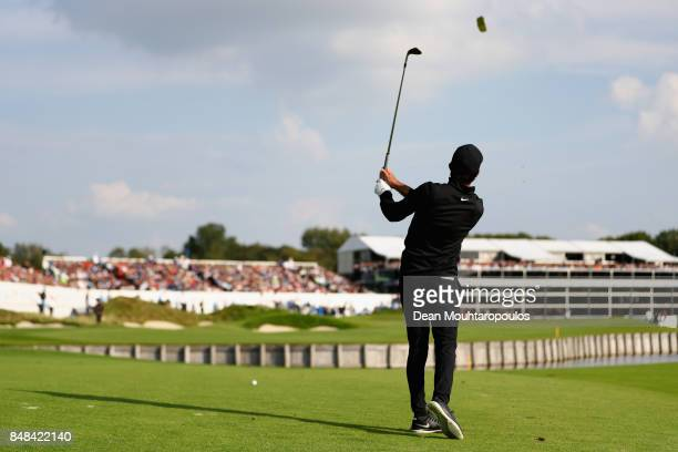 Joel Stalter of France plays a shot on the 18th hole during Day Four of the KLM Open at The Dutch on September 17 2017 in Spijk Netherlands